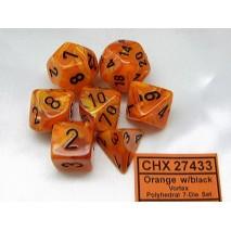 Set 7 dés VORTEX orange/noir