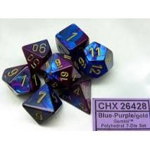 Chessex set de 7 dés Gémini bleu-violet/or