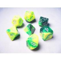 Set de dés Gemini vert jaune/argent