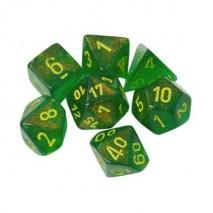 Set de 7 dés Boréalis vert erable/jaune
