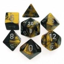 7 dés gemini en boîte black gold w/silver