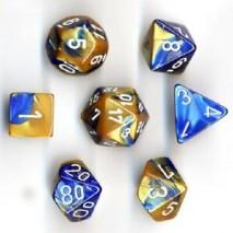 7 dés gemini en boîte blue gold w/white