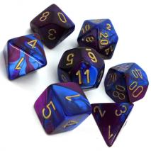 7 dés gemini en boîte blue purple w/gold
