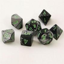 7 dés gemini en boîte black grey w/green