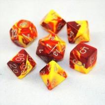 7 dés gemini en boîte red yellow w/silver