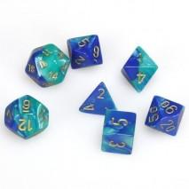 7 dés gemini en boîte blue teel w/gold