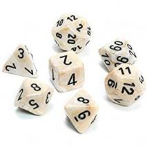 7 dés marbled en boîte ivory w/black