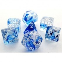 7 dés nebula en boîte dark blue w/white