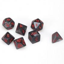 7 dés velvet en boîte black w/red