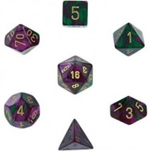 7 dés gemini en boîte green purple w/gold