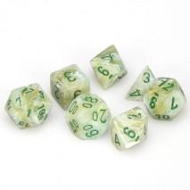 7 dés marbled en boîte green w/dark green