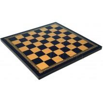Plateau d'échecs 40x40 cm simili cuir or noir