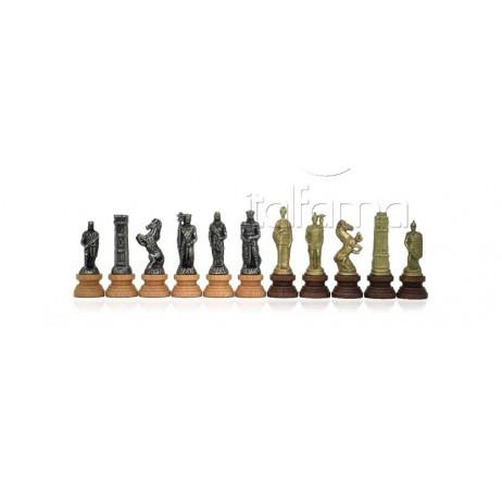 Pièces échecs bois métal Romains vs Barbares roi 9.9cm