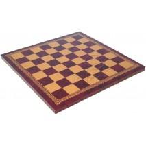 Plateau d'échecs 40x40 cm simili cuir or rouge