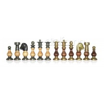 Pièces échecs bois métal Classic fr roi 7.5 cm socle2.5cm