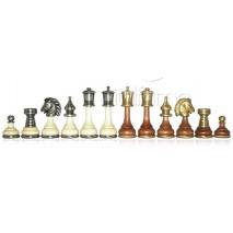 Pièces échecs bois métal Persian roi 9 cm socle 3.2cm
