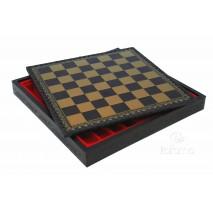 Plateau d'échecs 35x35 cm simili cuir or noir