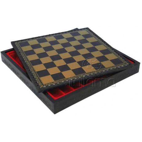 Plateau d'échecs 48x48 cm simili cuir or noir