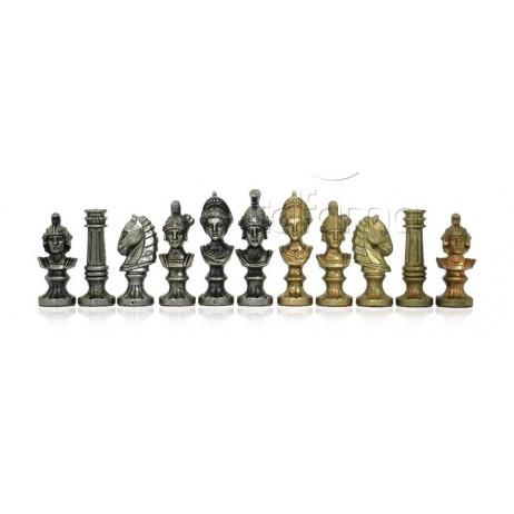 Pièces échecs Métal bustes Romains roi 9.8 cm socle 3.1cm