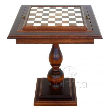 Table d'échecs marbre bois 58x58 h 67cm
