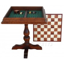 Table d'échecs Backgammon ronce d'églantier 59x59 cm