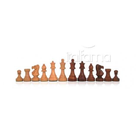 Pièces échecs bois de rose doré Classique roi 8.5 cm