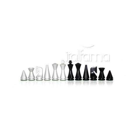 Pièces échecs laquées noir blanc Moderne roi 7.6 cm