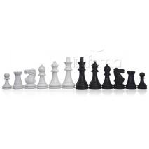 Pièces échecs laquées noir blanc staunton roi 7.6 cm