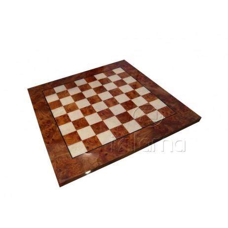 Plateau échecs bois loupe d'orme 66x66 cm Shiny