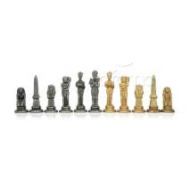 Pièces échecs métal Égyptiens Roi 9.5cm