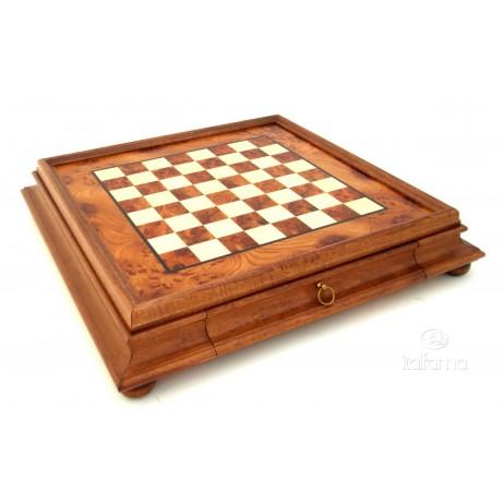 Plateau coffret tiroir bois marbre 47x47 cm