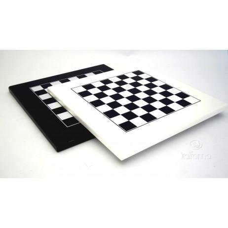 Plateau d'échecs 40x40 cm laqué blanc noir