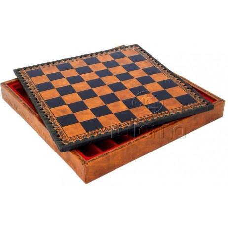 Plateau d'échecs 48x48 cm simili cuir brun noir