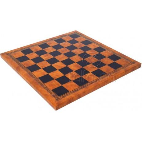 Plateau d'échecs 40x40 cm simili cuir brun noir