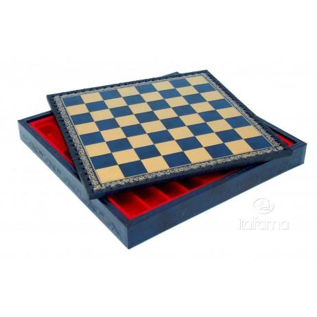 Plateau d'échecs 35x35 cm simili cuir or bleu