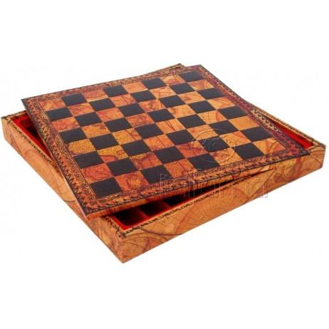 Plateau coffret d'échecs 48x48 cm simili cuir globe