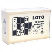 Coffret loto 48 cartons avec 90 pions buis marques