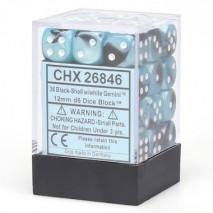 Chessex set de 36 dés 6 gemini noir nacré et blenc