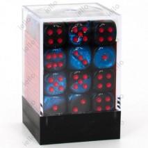 Chessex set de 36 dés 6 Gemini noir starlight/rouge