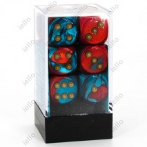 Chessex set de 12 dés 6 Gemini Rouge Sarcelle Or