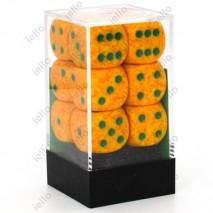 Chessex set de 12 dés 6 Granite Lotus Orange/Vert