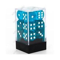 Chessex set de 12 Dés 6 Transparent Sarcelle/Blanc
