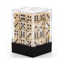 Chessex set de 36 dés 6 Marble Ivoire Noir