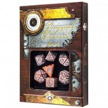 Set de Dés Steampunk Clockwork Caramel & White