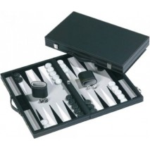 Backgammon malette cuir noir / blanc